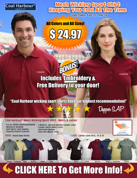 Wicking Sport Shirts Special